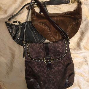 3 bag bundle!!! Coach black/suede/chocolate!